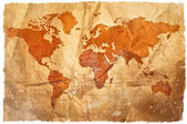 World grunge sepia map — Stock Photo