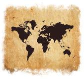 Grunge map of world isolated on white — Stock Photo