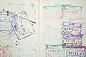 Colorful passport stamps — Stock Photo