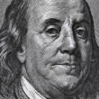 Extreme macro of 100 dollar bill with Benjamin Franklin portrait — Foto Stock #9328664