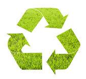 återvinn tecken med gräs mönster isolerad på vit bakgrund — Stockfoto
