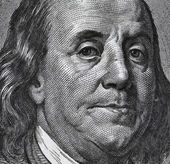 Extreme macro of 100 dollar bill with Benjamin Franklin portrait — Stock Photo