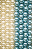 Blue and white pearls macro — Stockfoto