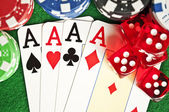 Poker chips cards and dices — Stock Photo