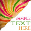 Stock Photo: Colorful retro background with teared corner for your text space