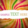 Stock Photo: Multicolored retro background with teared corner for your text s