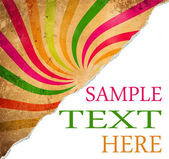 Colorful retro background with teared corner for your text space — Stock Photo