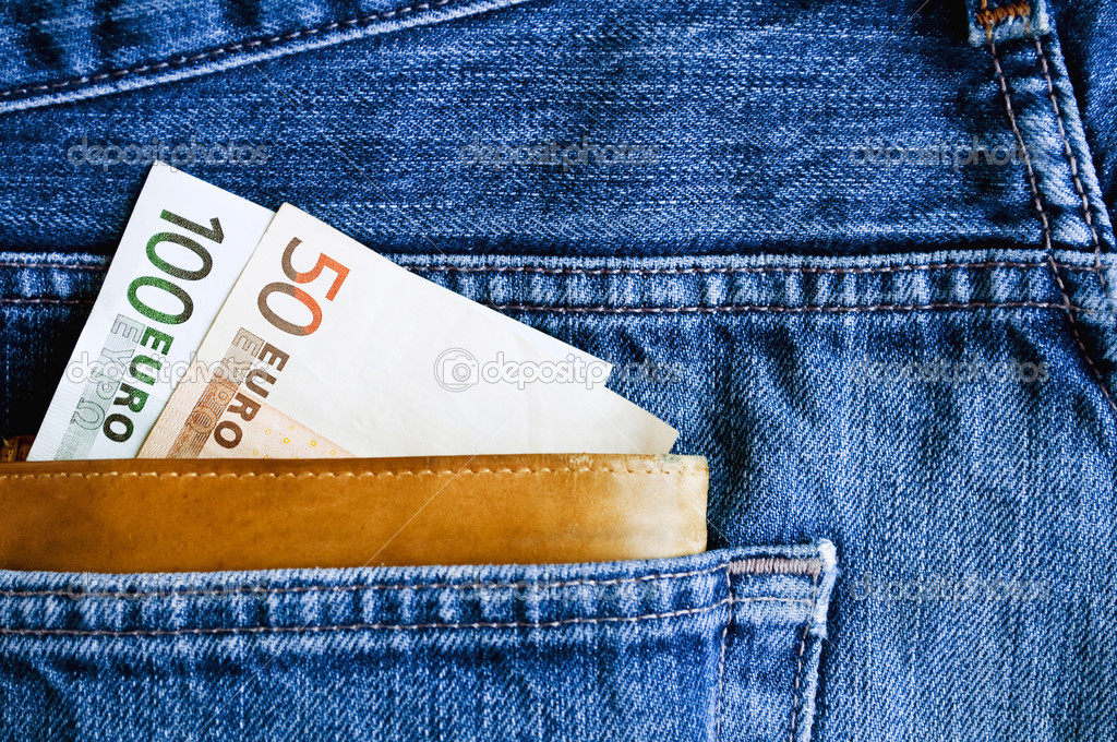 Wallet Jeans Pocket Wallet With Euros in Jeans