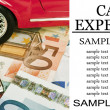 Car money and calculator - Car expenses conceptual image — Stock Photo