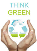 Hand holding recycle eco sign - Think Green concept — Stock Photo