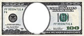 One hundred dollars bill with a hole in center with clipping pat — Stock Photo