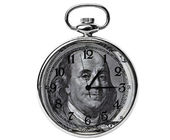 Time is money concept - 100 dollar bill Benjamin Franklin portra — Stock Photo