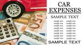Car money and calculator - Car expenses conceptual image — Stock Photo