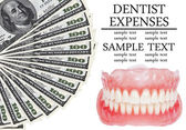 Denture and dollars - Dental expenses conceptual image — Stock Photo
