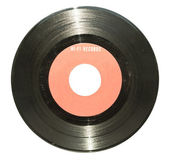 Vintage vinyl record with red label isolated on white — Stock Photo