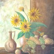 Still life painting of Sunflower in vase with basket full of app — Stock Photo #9748282