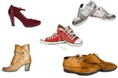 Collection of various types of footwear white background — Stock Photo