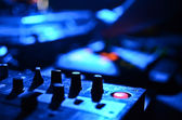 Part of an audio sound mixer with buttons and sliders — Stock Photo