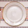 Knife, white plate and fork on tablecloth — Stock Photo #10081523