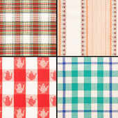 Set of different fabric texture on white background — Stock Photo