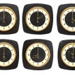 Collection old clocks wall on white background. Timezone clock — Photo