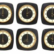Collection old clocks wall on white background. Timezone clock — Stok fotoğraf
