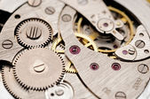 Gears and mainspring in the mechanism of a pocket watch (pocketw — Stock Photo