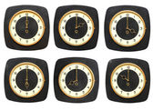 Collection old clocks wall on white background. Timezone clock — Stock Photo