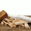 Soap, clothespins and rope on rustic table - Stock Photo
