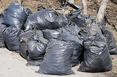 Many black garbage bags at curb — Stock Photo