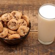 Glass of milk and chocolate chip cookies on wooden table — Stock Photo #10494347