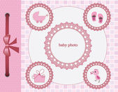 Baby girl greeting card. Frame for your text or picture — Stock Vector