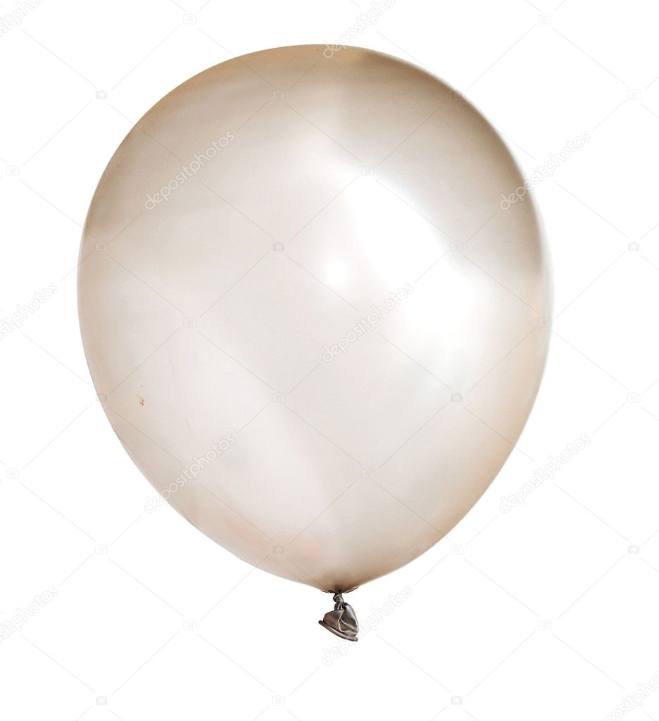 Inflated silver balloon isolated on white stock photo for Silver cloud balloons