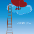 Royalty-Free Stock 矢量图片: Two red heart sitting on a cloud
