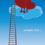 雲の上に座っている 2 つの赤いハート — ストックベクタ