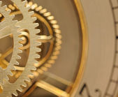 Clock mechanic inside, clockwork close up. — Stock Photo