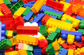 Pile plastic toy blocks — Stock Photo