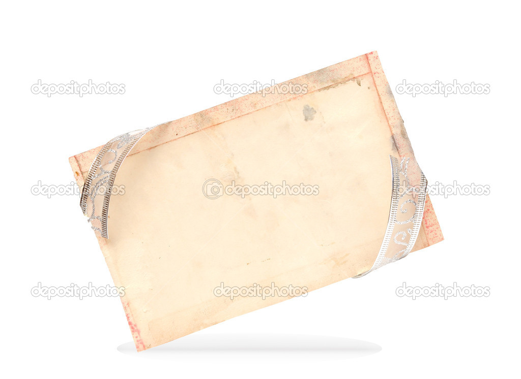 Silver ribbon and blank old paper on white. gift card — Stock Photo #8769893