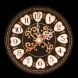 Wall clock with a black dial - Stock Photo