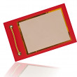 Greeting card on red paper with gold rope. space for your text — Stock Photo