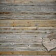 Two heart on wood background with copy space - Stok fotoğraf
