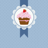 Birthday card with strawberry cake and pink ribbon and bow — Stockvector