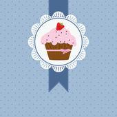 Födelsedagskort med jordgubbstårta och rosa band och rosett — Stockvektor