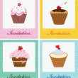 Collection frame with cupcakes. perfect as invitation or announcement. — Stock Vector
