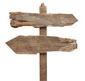 Eski ahşap ok yolu işaret olarak izole beyaz — Stok fotoğraf