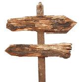 ヴィンテージの木製の矢道路標識に分離白 — ストック写真