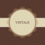 tarjeta vintage marrón, polka dot design — Vector de stock