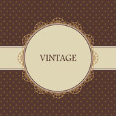 Brown vintage card, polka dot design — Vettoriale Stock
