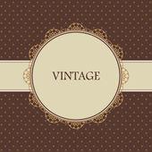 茶色のビンテージ カード、ポルカドットの設計 — ストックベクタ