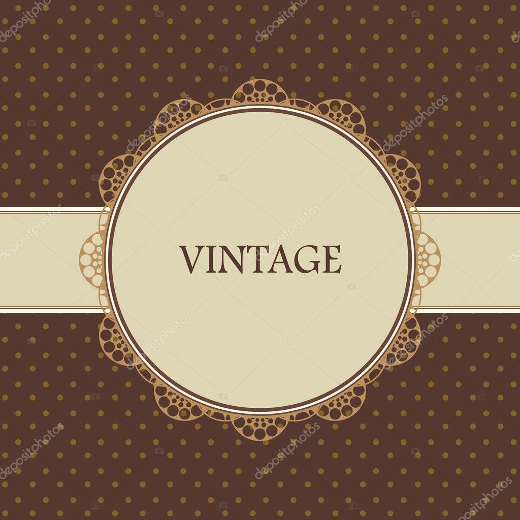 Brown vintage card, polka dot design — Stock Vector #9447730